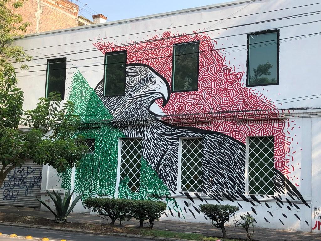 Street Art Mexicain : Drapeau Mexicain par l'artiste local jm.mxl à Mexico Citiy dans le quartier de Roma Norte