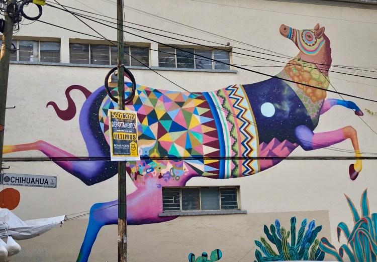 Fresque murale à Mexico City réalisée par l'artiste SPAIK