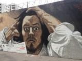 Œuvres Street Art Paris :fresque murale inspirée du Désespéré de Gustave Courbet réalisée par le street artist Français PBOY