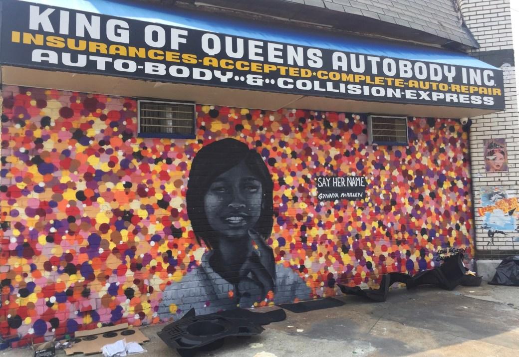 Fresque murale réalisée en Hommage à Gynnya Mc Millen par Caleb Neelon & Lena Mc Carthy - au Wellingcourt mural project dans le Queens