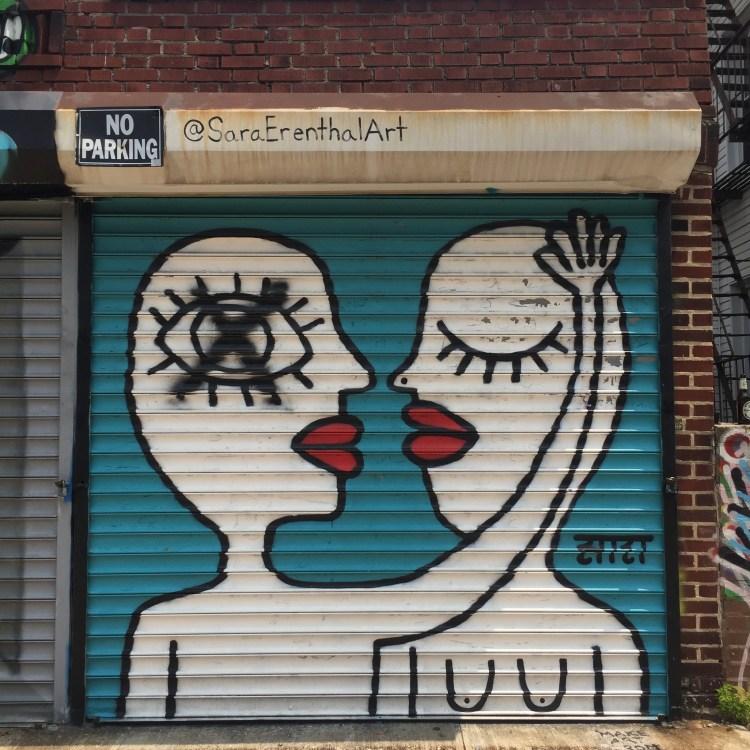 fresque murale réalisée par Sara Enrenthal pour le Street Art Festival Wellington Court dans le Queens