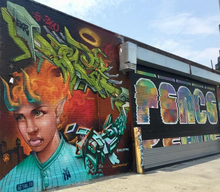 mural street art réalisé dans le Queens au Welling Court Mural Porject par les artistes Mexicains Siul_fx et Rak Ekr