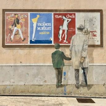Oeuvre de Street Art à Cannes e Hommage à Jacques Tati