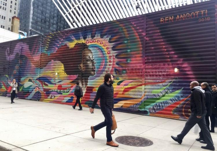 Fresque Murale réalisée par Ben Angotti au World Trade Center - Street Art nyc - Photo par le blog Street Art Altinnov