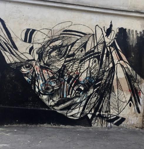 Visage dessiné par le Street Artist HOPARE à Paris