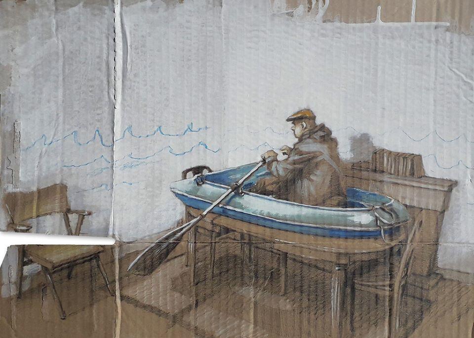 """Série d'oeuvre """"Isolement"""" créée par le street artist Philippe Hérard pendant le confinement"""