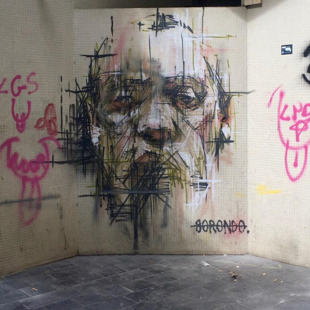 Magnifique portrait réalisé par le célèbre Street Artiste Borondo à Vitry-sur-Seine