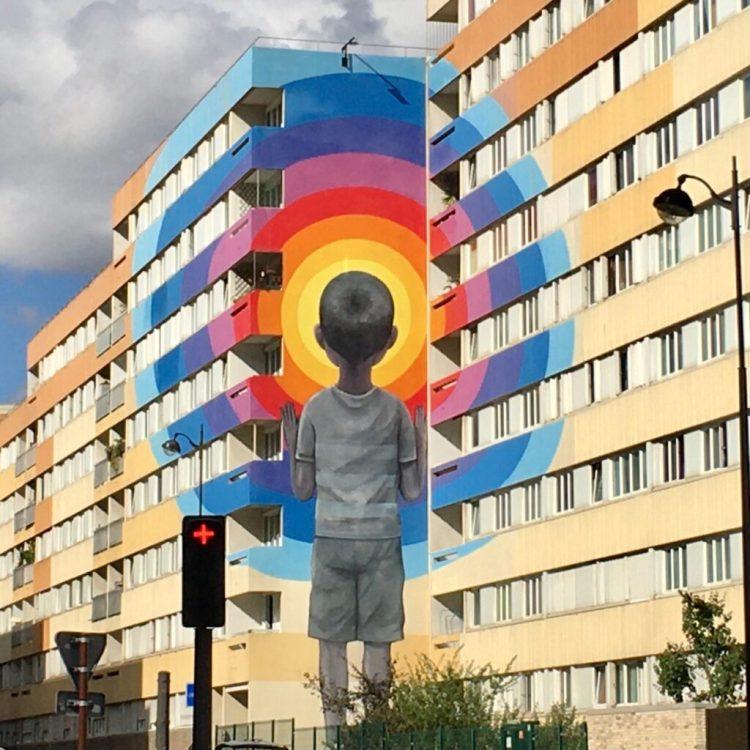 Boulevard Paris 13 - Musée du Street Art à ciel ouvert - Enfant au Vortex par l'artiste Seth Globe Painter