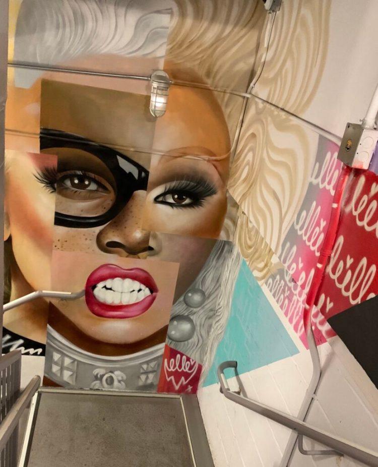 Portrait de la draqueen RuPaul réalisé par Elle Street Art au Mosa Bowery de New-York