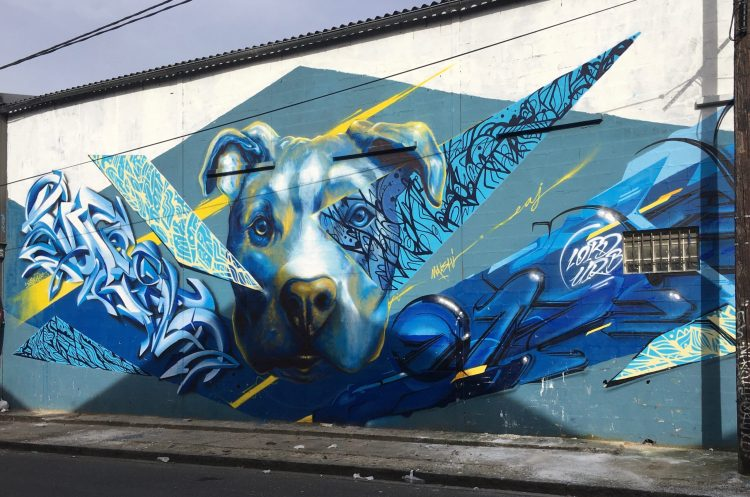 Street Art à Aubervilliers - Fresque murale représentant un Pit Bull bleu réalisé par des graffeurs de talent
