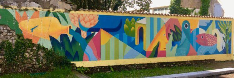 Fresque murale réalisée par Gilbert Petit pour le Festival Street Art Muralis à Dax