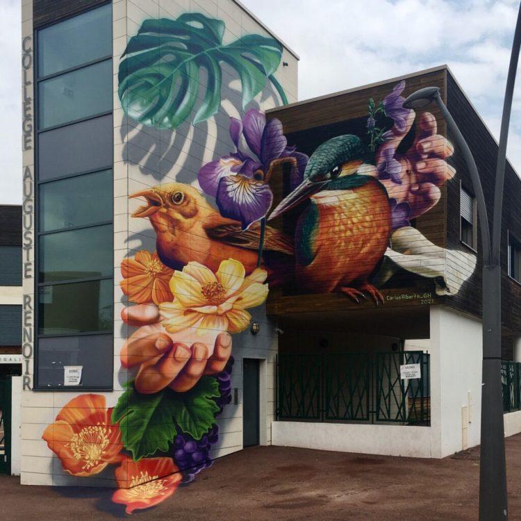 Fresque sur le développement durable réalisée par Carlos Alberto GH à Chatou