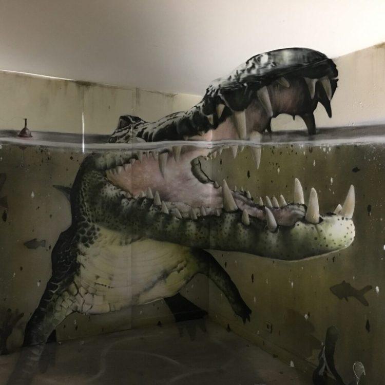 Anamorphose réalisée par le Street Artiste Scaf Oner à l'espace transition ephémère street art à Abbeville