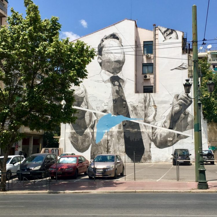 Street Art Athènes - fresque murale de l'artiste INO Expo - Blog Street Art Altinnov