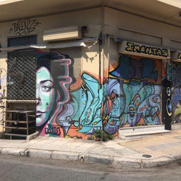Mister Achilles visage de femme - Street Art Athènes