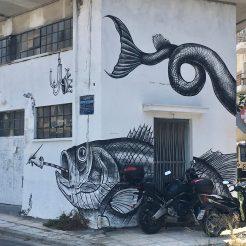 Poisson réalisé par Leonidas Giannakopoulos Street Art Athènes