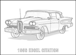 American Cars of the 1950s Coloring Book