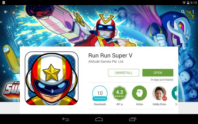 Run Run Super V at the Play Store
