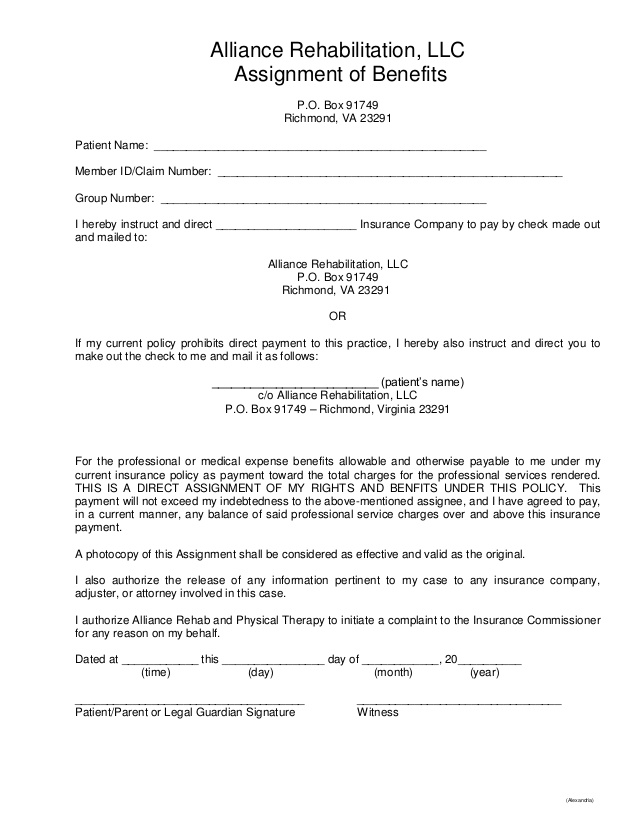 Read the fine print altizer law for Assignment of benefits form template