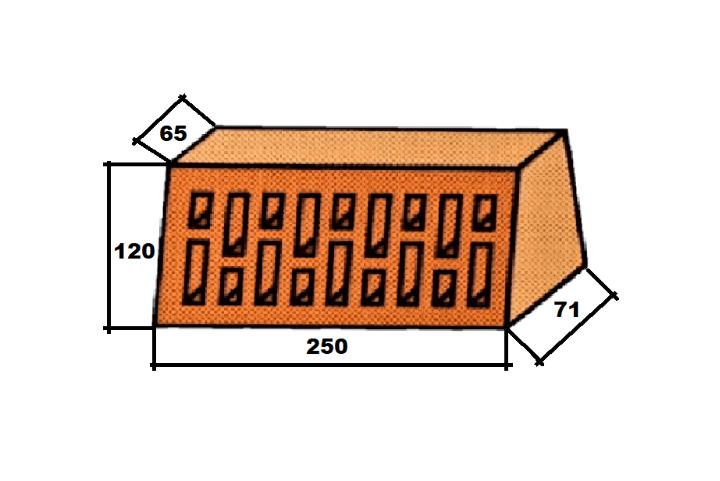 Фигурный клинкерный кирпич Lode Janka F71 боковой клин