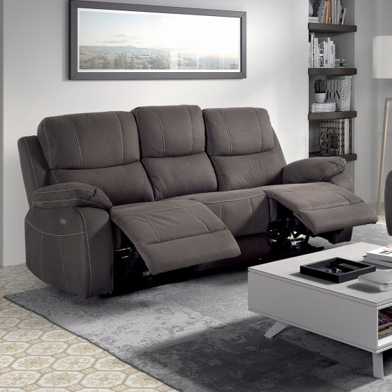 valence canape relax electrique 3 places taupe
