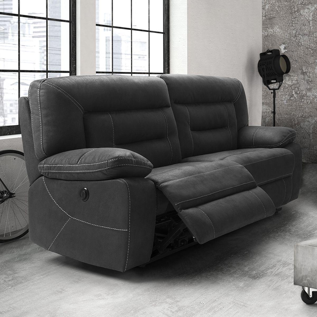 details sur altobuy almeria canape relax electrique 3 places gris fonce neuf