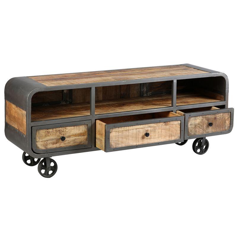 edwin meuble tv 3 tiroirs acier et bois massif