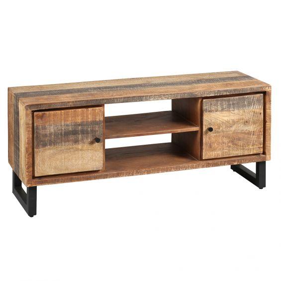 odilon meuble tv 2 portes acier et bois massif