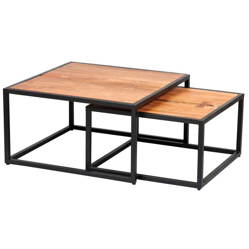 ghita lot de 2 tables basses gigognes metal et bois