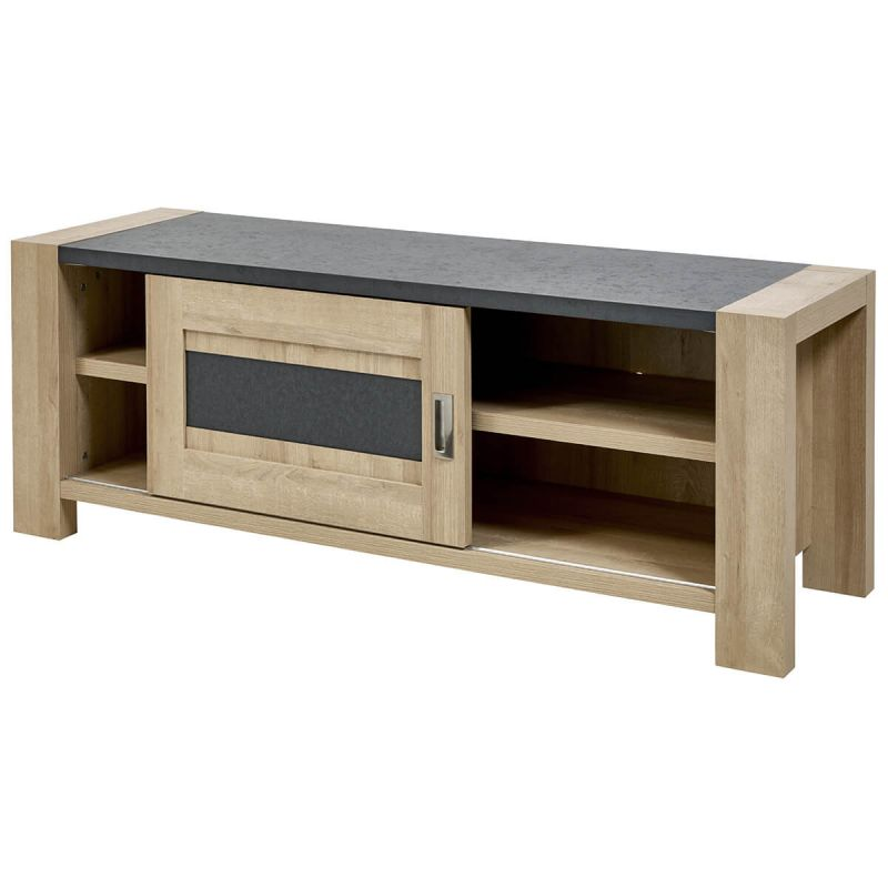 iris meuble tv 1 porte coulissante imitation bois