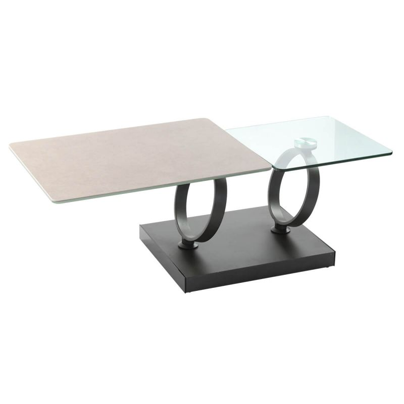 ceres table basse plateaux verre gris pierre