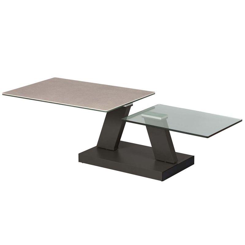 zehra table basse plateaux verre gris pierre