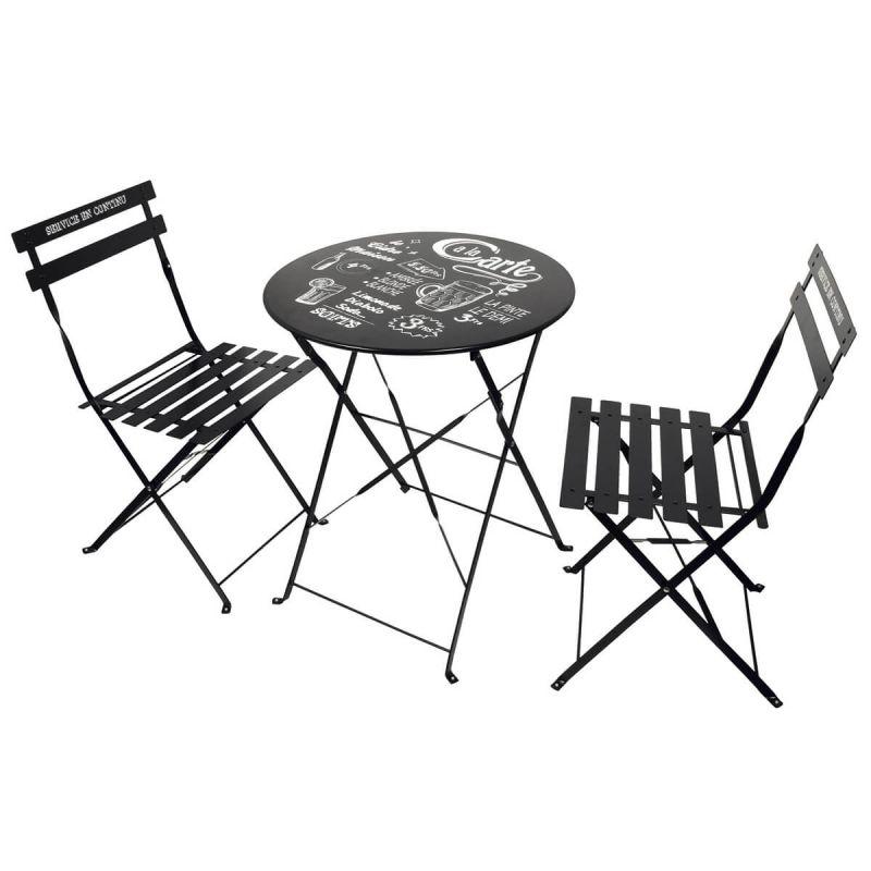 eole table de jardin et 2 chaises pliables noires