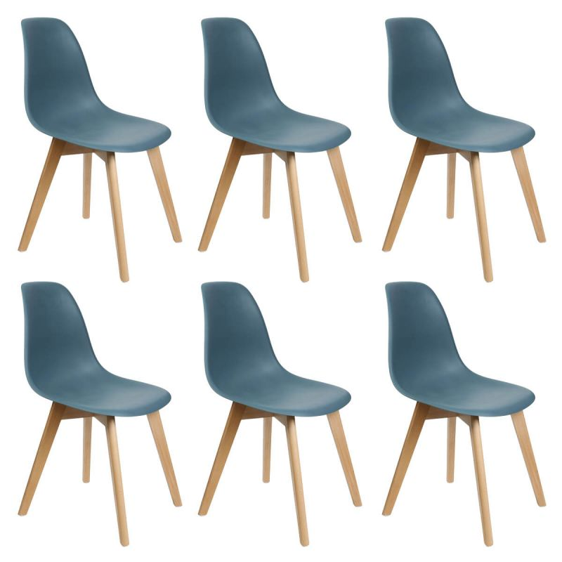 melya lot de 6 chaises scandinaves bleu canard