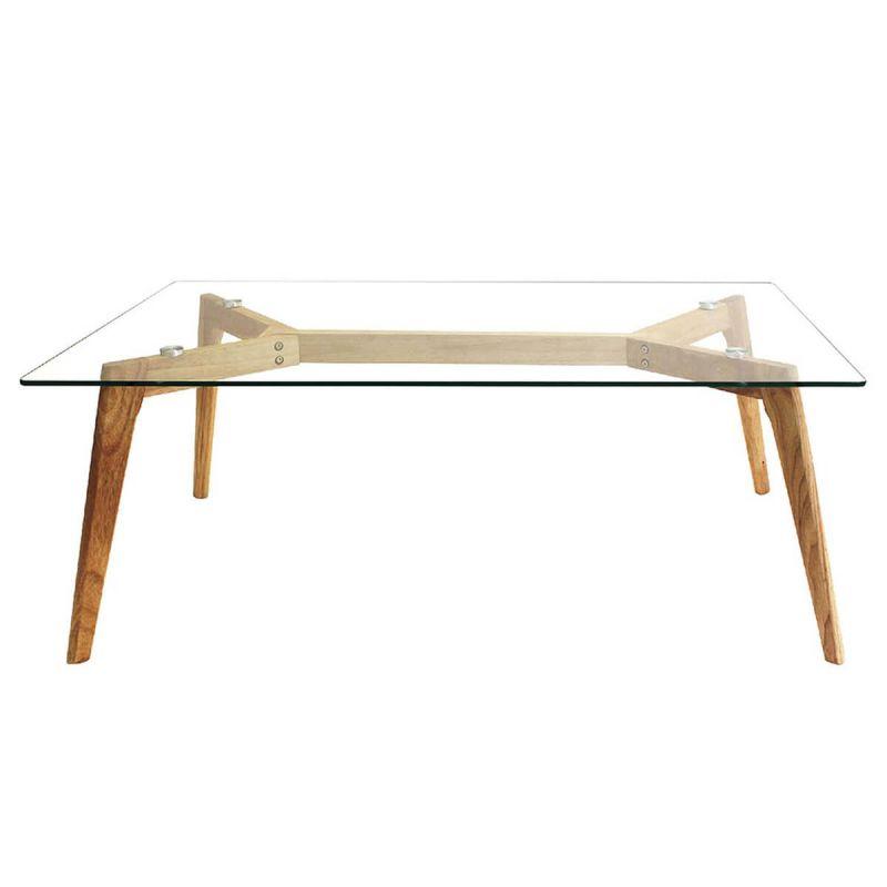 verane table basse rectangulaire plateau verre