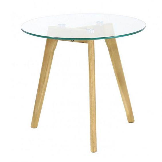 theana table basse ronde verre trempe et pieds metal