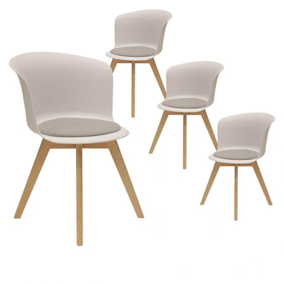 enael lot de 4 chaises blanches avec assise grise