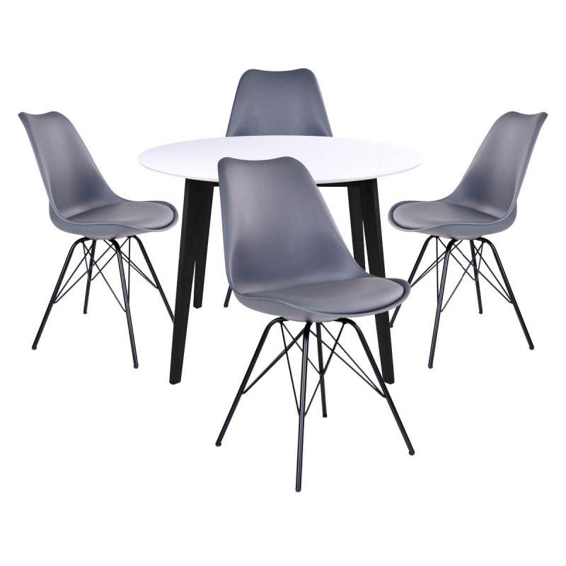 gram ensemble table ronde noire et blanche 4 chaises grises