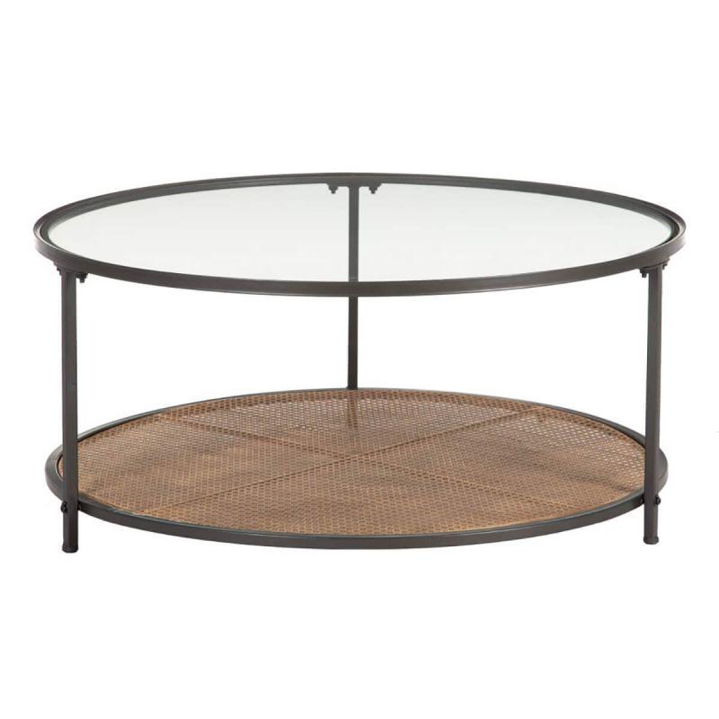 renato table basse ronde bois et metal