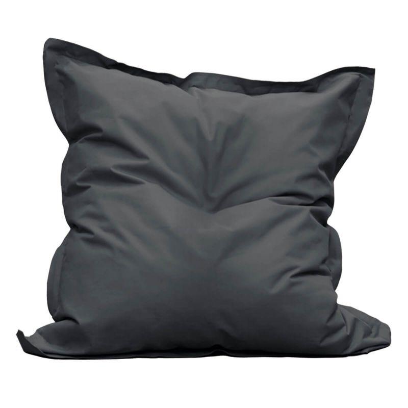 square pouf d exterieur tissu coloris gris