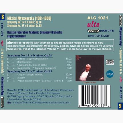 Nikolai Myaskovsky: Complete Symphonic Works, Volume 11