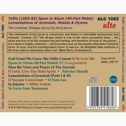 ALC 1082 - Tallis: Spem in Alium / Lamentations / Motets / Hymns