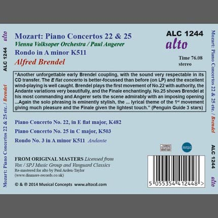 MOZART: Piano Concertos 22 & 25 plus Rondo A minor K511