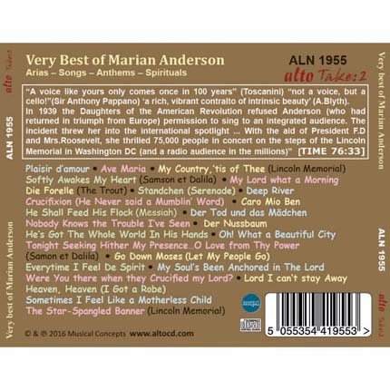 Very Best of Marian Anderson: Arias – Songs – Anthems – Spirituals