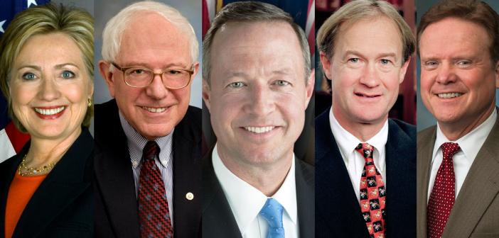 5 Dem Candidates: Clinton, Sanders, O'Malley, Chaffee, Webb