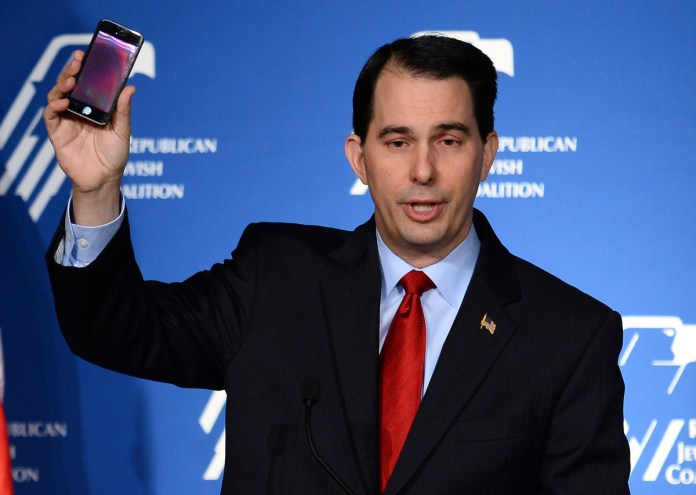 Scott Walker with cell phone