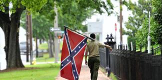 Confederate flag walking