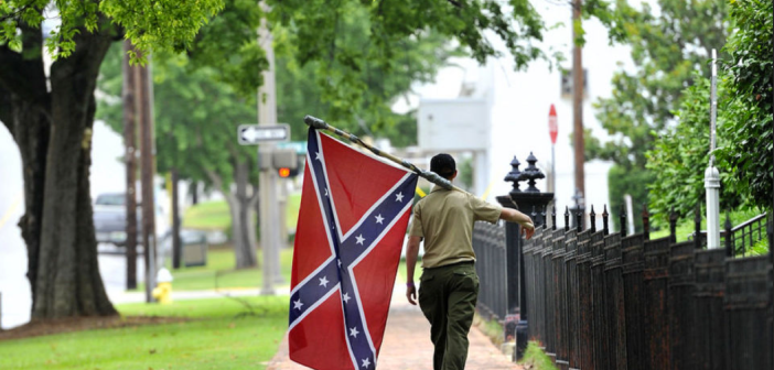 Confederate flag walking
