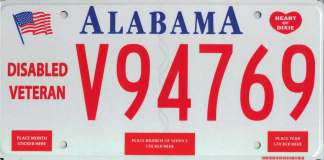 Alabama Disabled Veteran License Plate