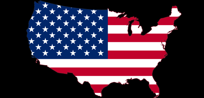 American flag map of USA